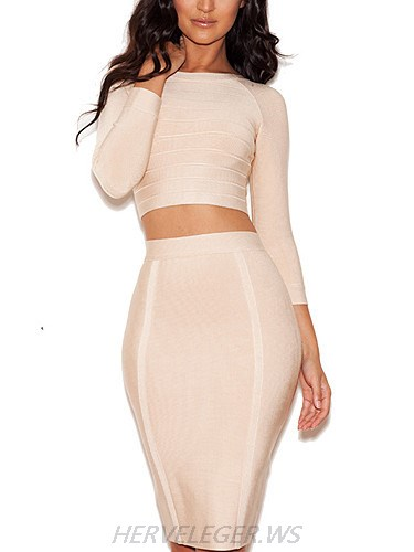 Herve Leger High Neck Long Sleeved Crop Top Dress