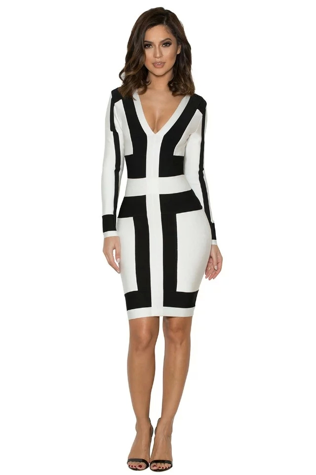 Herve Leger Jesinta Black and White Long Sleeve Dress