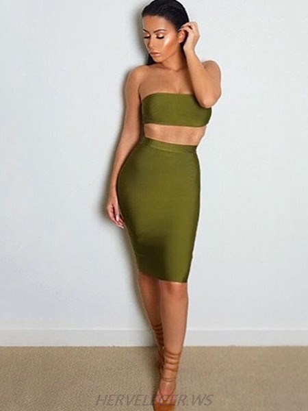 Herve Leger Karlton Olive Strapless Crop Top Two Piece Dress