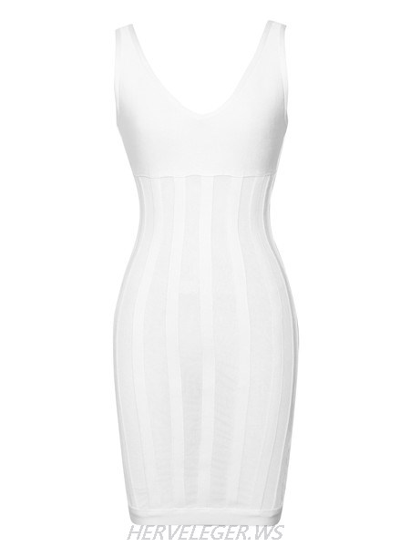 Herve Leger Karter Fishnet White Mesh Stripe Dress