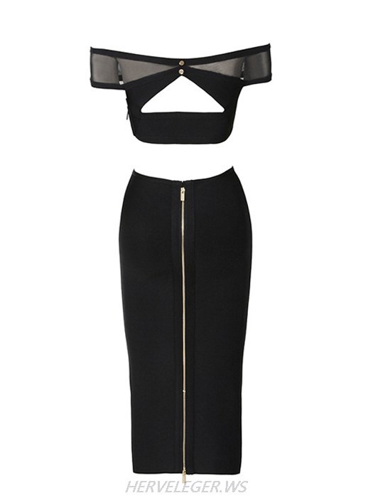 Herve Leger Kody Off Shoulder Mesh Detail Two Piece Dress