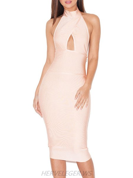 Herve Leger Light Pink Halter Top Turtleneck Cutout Dress