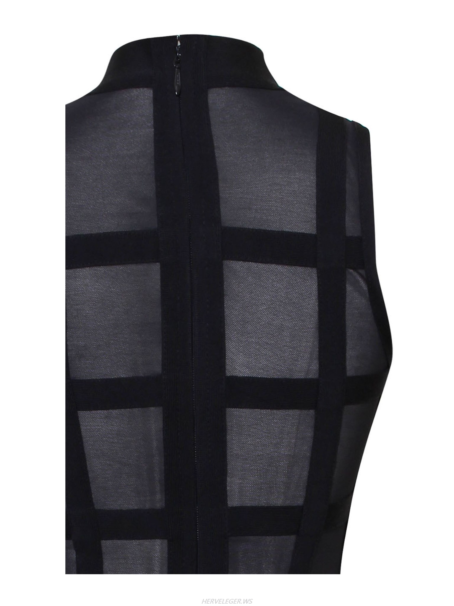 Herve Leger Mareva Black Turtleneck Neckline Mesh Dress