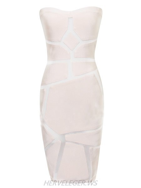 Herve Leger Nude Sheer Graphic Strapless dress
