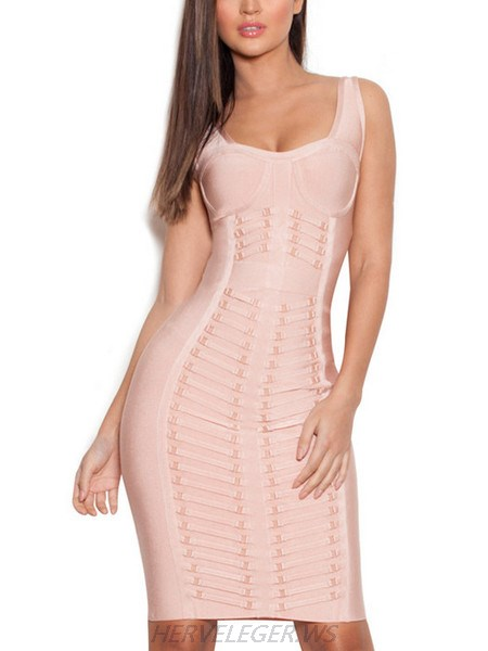 Herve Leger Nude Bodycon Dress with Metal Embellished