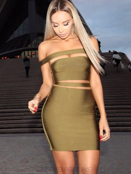 Herve Leger Olive Green Off Shoulder Horizontal Cutout Detail Dress
