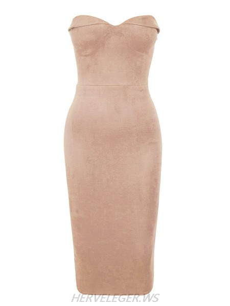 Herve Leger Olivia Brown Stretch Suedette Dress