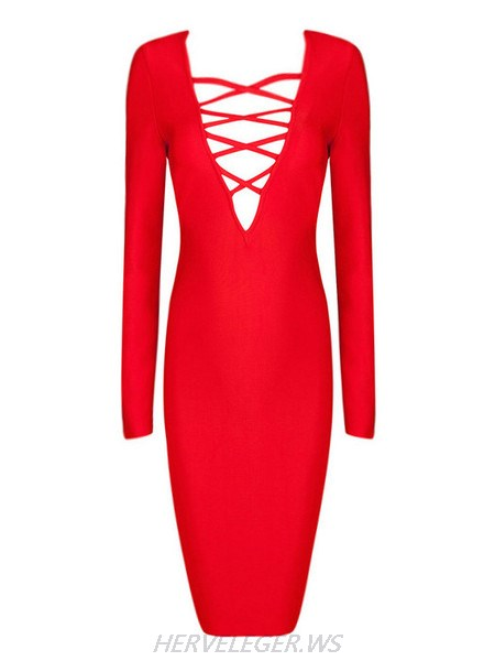 Herve Leger Red Fiona V Neck Criss Cross Detail Dress