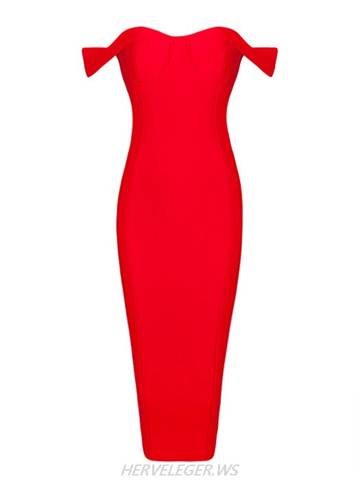 Herve Leger Red Logan Off Shoulder Sweetheart Top Dress
