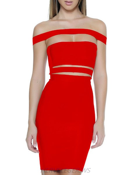 Herve Leger Red Off Shoulder Horizontal Cutout Detail Dress