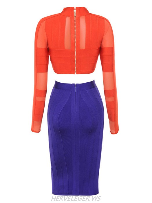 Herve Leger Sasha Orange and Blue Mesh Two Piece Dress
