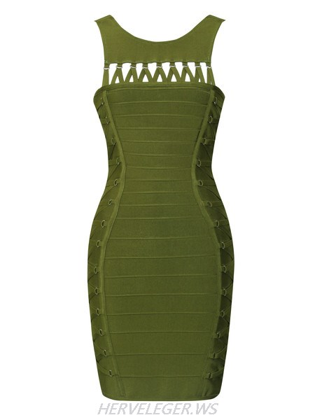 Herve Leger Tanner Olive Green Lace up Detail Dress