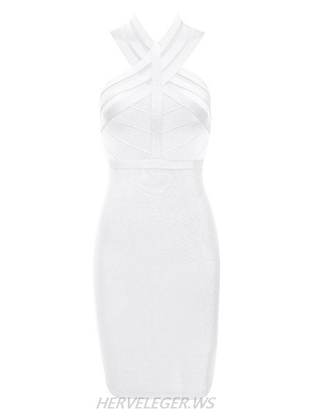 Herve Leger White Andrea Halter Dress