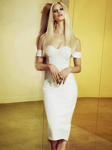 Herve Leger White Logan Off Shoulder Sweetheart Top Dress