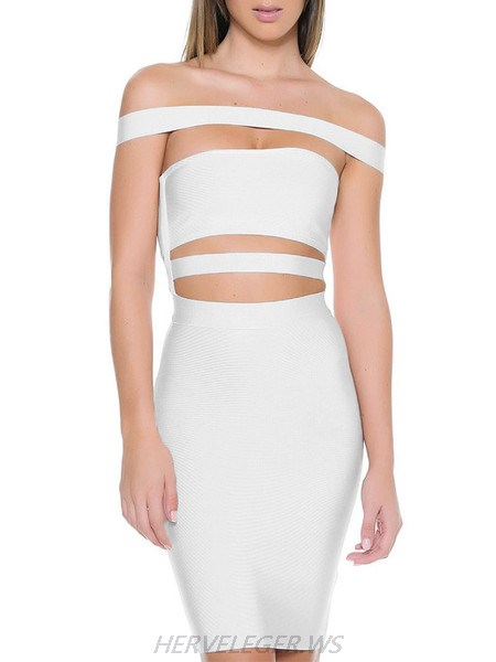 Herve Leger White Off Shoulder Horizontal Cutout Detail Dress
