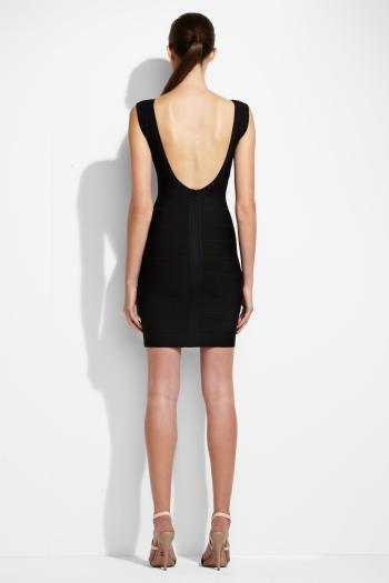 Black Herve Leger V Neck Signature Bandage Dress