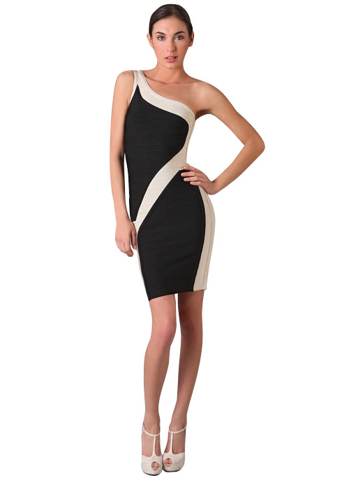 Herve Leger Black And White Bandage Dress