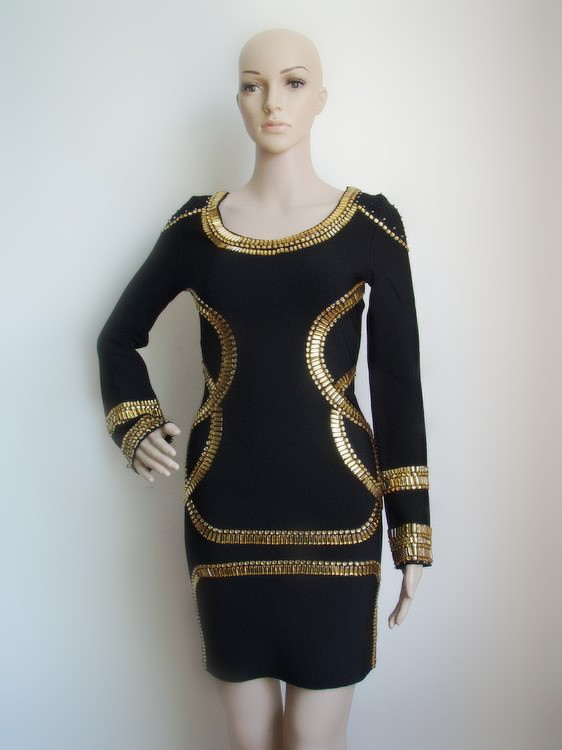 Herve Leger Black Long Sleeve Sequin Dress