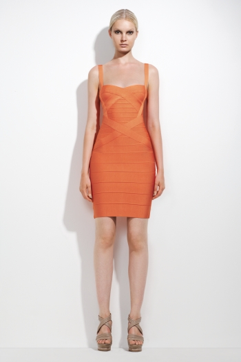 Herve Leger Orange Dress