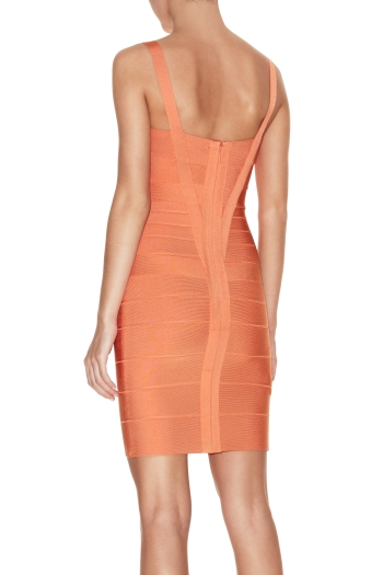Herve Leger Orange Dress Herve Leger Orange Bandage Dress