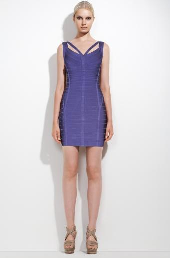 Herve Leger Purple Bandage Dress