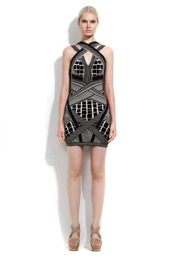 Herve Leger Strapless Jacquard Dress