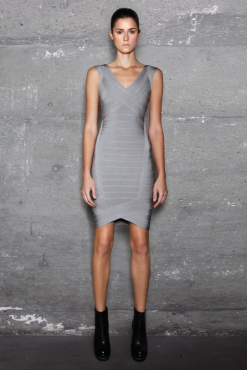 Grey NOVELTY  NICOLETTE  Herve Leger V neck  Bandage Dress