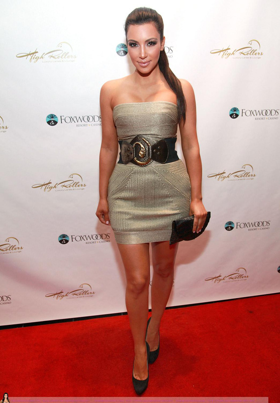 Kim Kardashian Herve Leger Grey Strapless Dress
