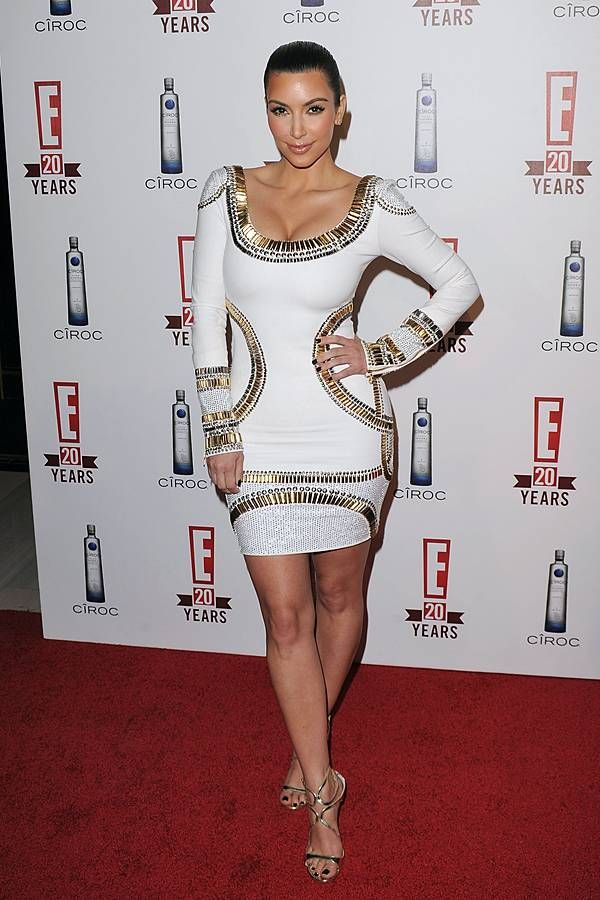 Kim Kardashian In Herve Leger Bandage Dress White