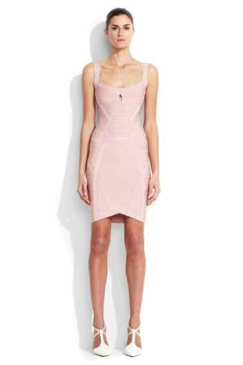 9a1bcc4d8e6e Herve Leger Trish Pink A Line Tubular Knit Dress [Herve Leger Trish ...