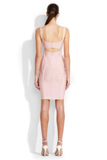 Pink Herve Leger Bandage Dress