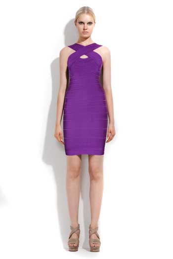 Purple Herve Leger Bandage Dress