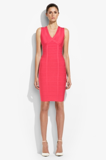 Herve Leger Red Signature Bandage Dress New Fashion Style