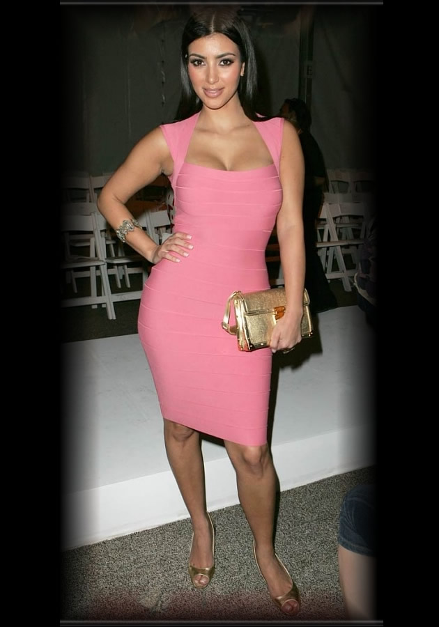 Kim Kardashian Herve Leger Dress Pink Herve Leger Hot Pink