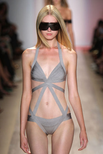 Herve Leger Grey One Piece Bandage Swimwear