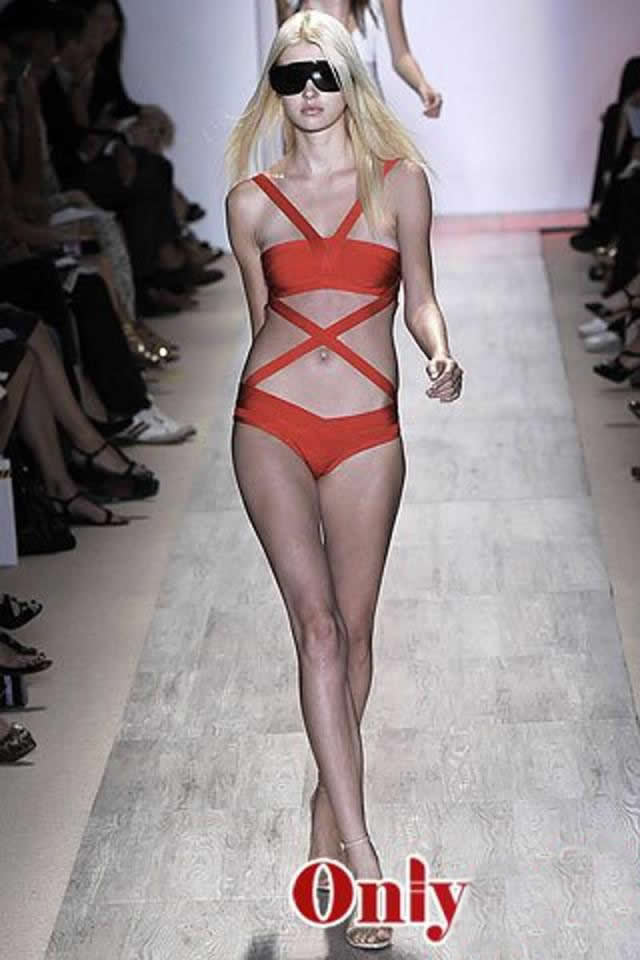 Herve Leger Red One Piece Bandage Swimsuit