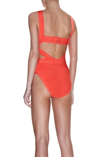 Herve Leger Swimsuit Bandage Red