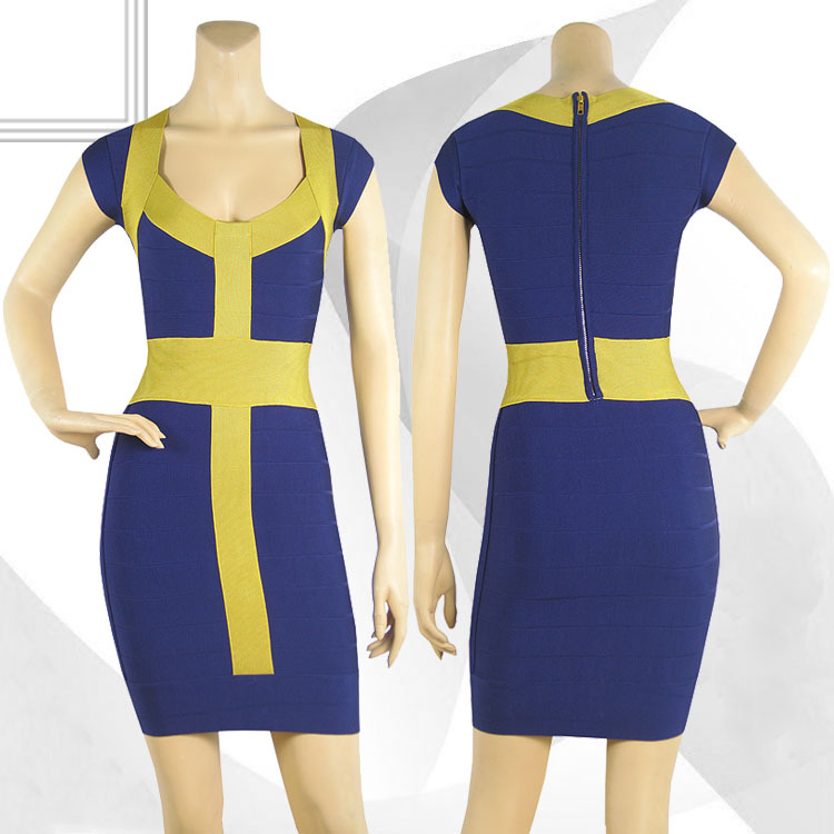 Herve Leger Blue And Yellow Square Neckline Bandage Dress