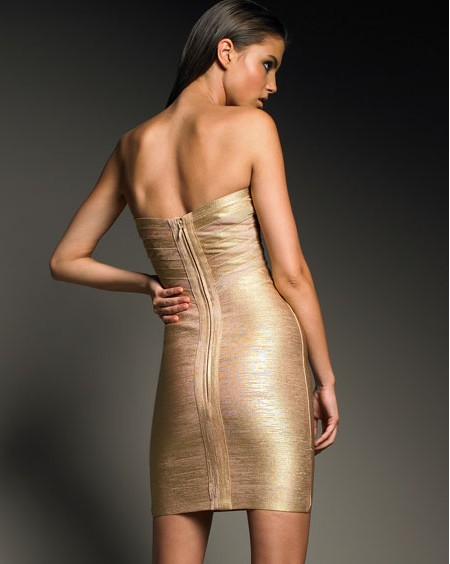 Discount Herve Leger Gold Dress Discount Herve Leger