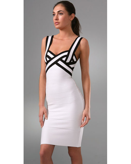 Herve Leger Black And White Dress