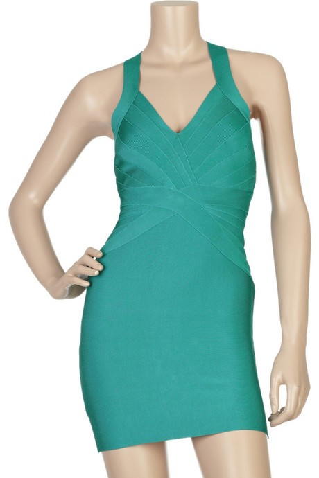 Herve Leger Blue Dress V Neck