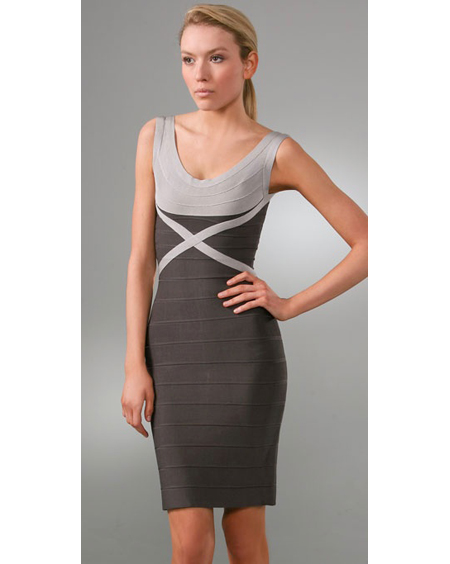 Herve Leger Grey Dress