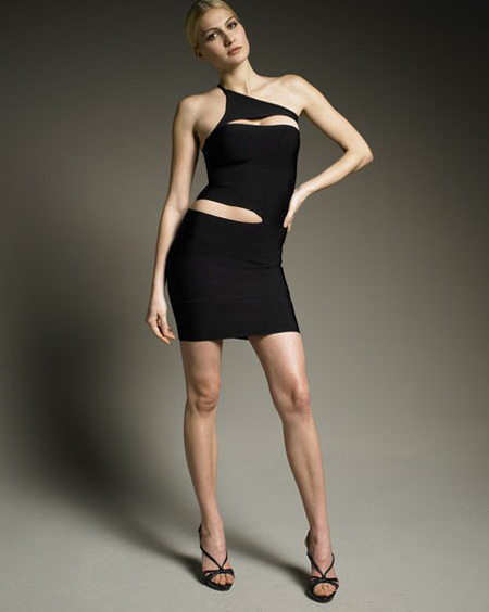 Herve Leger One Shoulder Dress Black