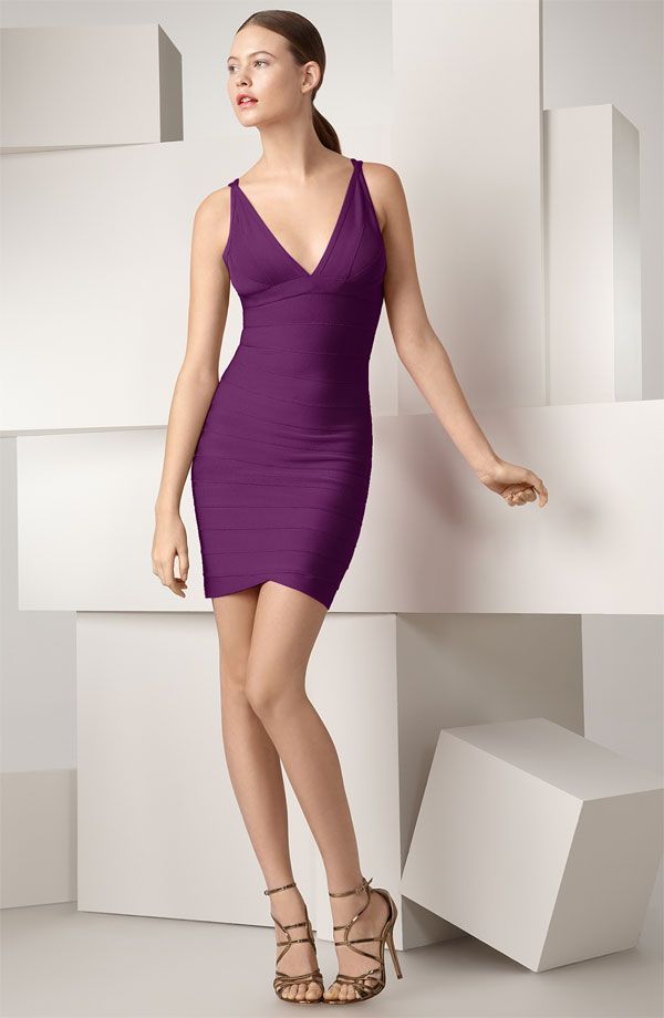 Herve Leger Purple Dress Discount