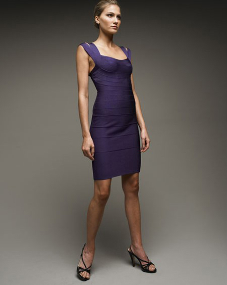 Herve Leger Purple Dress New