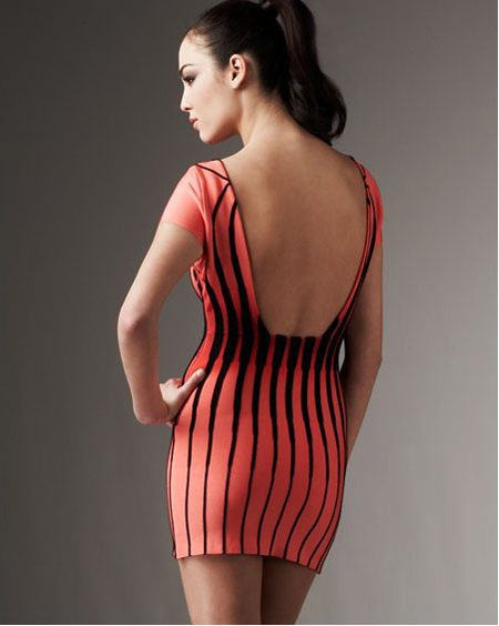Herve Leger Red And Black Dress