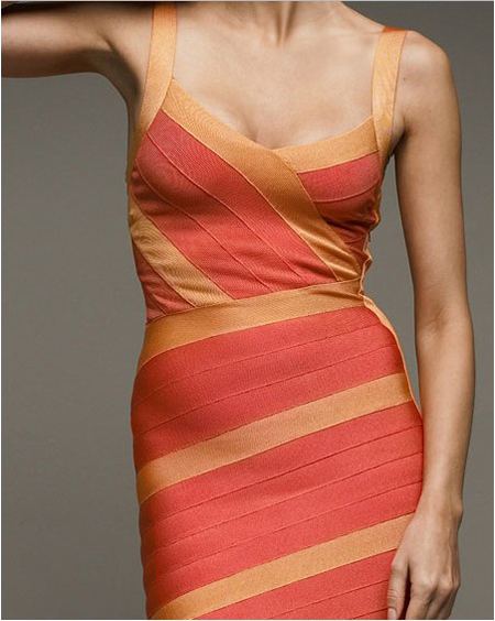 Herve Leger Red And Yellow Dress