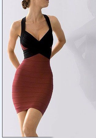 Herve Leger Red And Black V Neck Dress