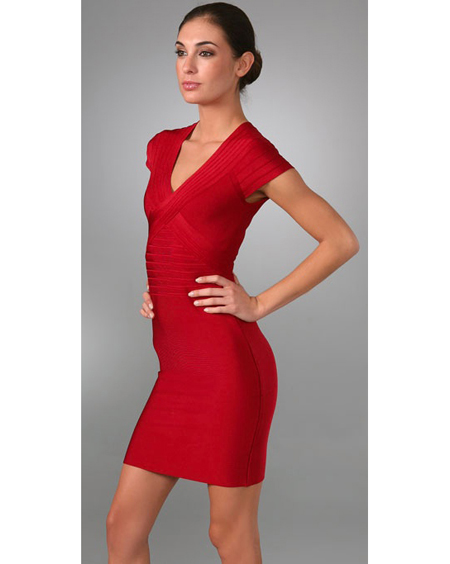 Herve Leger Red Dress V Neck