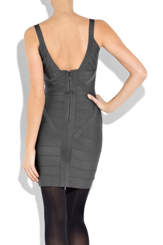 Herve Leger V Neck Bandage Dress Black